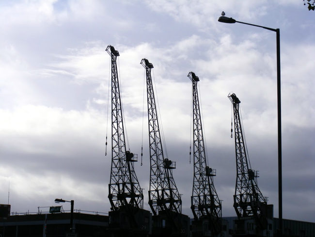 Cranes on the waterside in  Bristol.