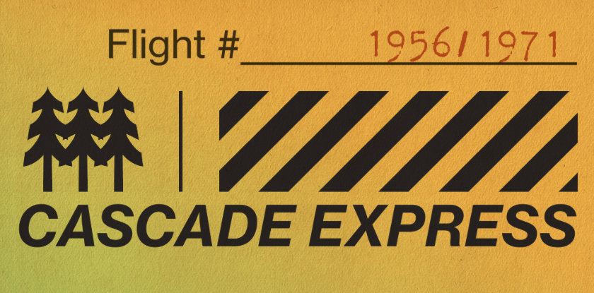 Cascade Express -- hop-themed boarding card.