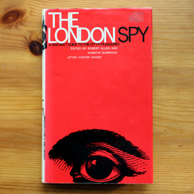 Cover of the 1971 edition of The London Spy. (Bright red, peering eye.)