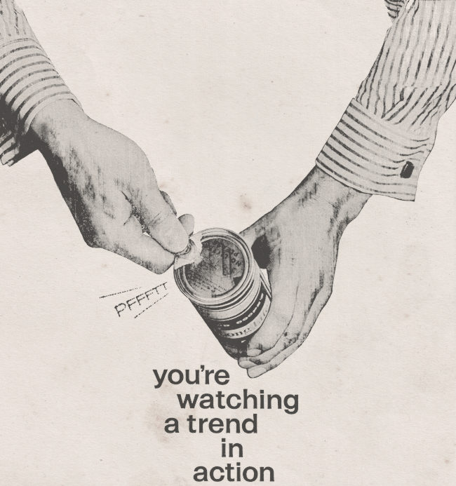 """Detail from lager ad, 1961: """"You're watching a trend in action."""""""