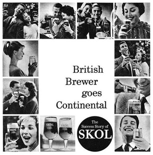 """Skol advertisement, 1960: """"British Brewer Goes Continental""""."""