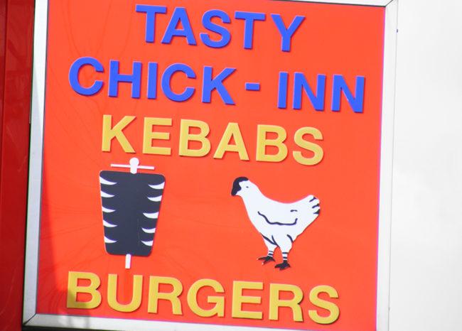 Take-away sign: TASTY CHICK-INN.