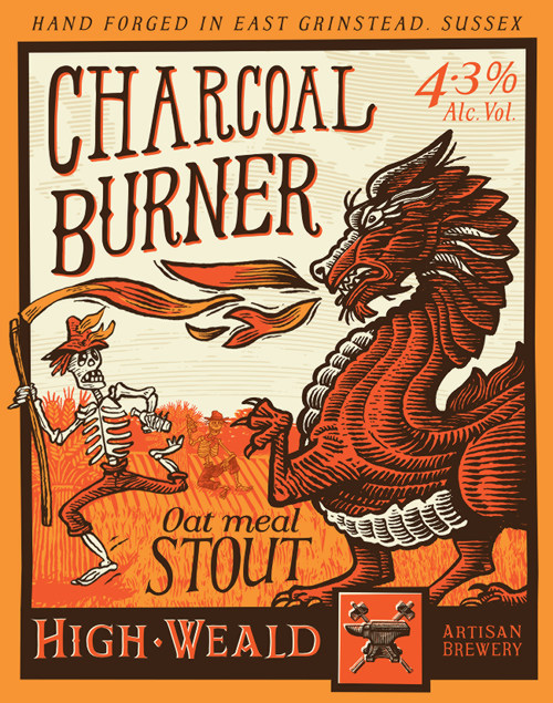 The label for High Weald Charcoal Burner: farmer chased by Dragon.