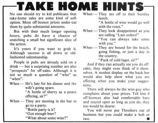 TAKE HOME HINTS