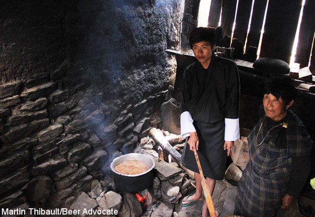 Brewing in an outdoor kitchen, Bhutan.