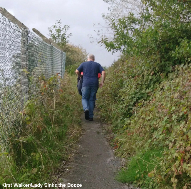 Walking between pubs along a public footpath.
