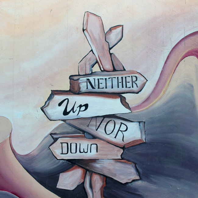 "Painted Signpost: ""Neither Up Nor Down"""
