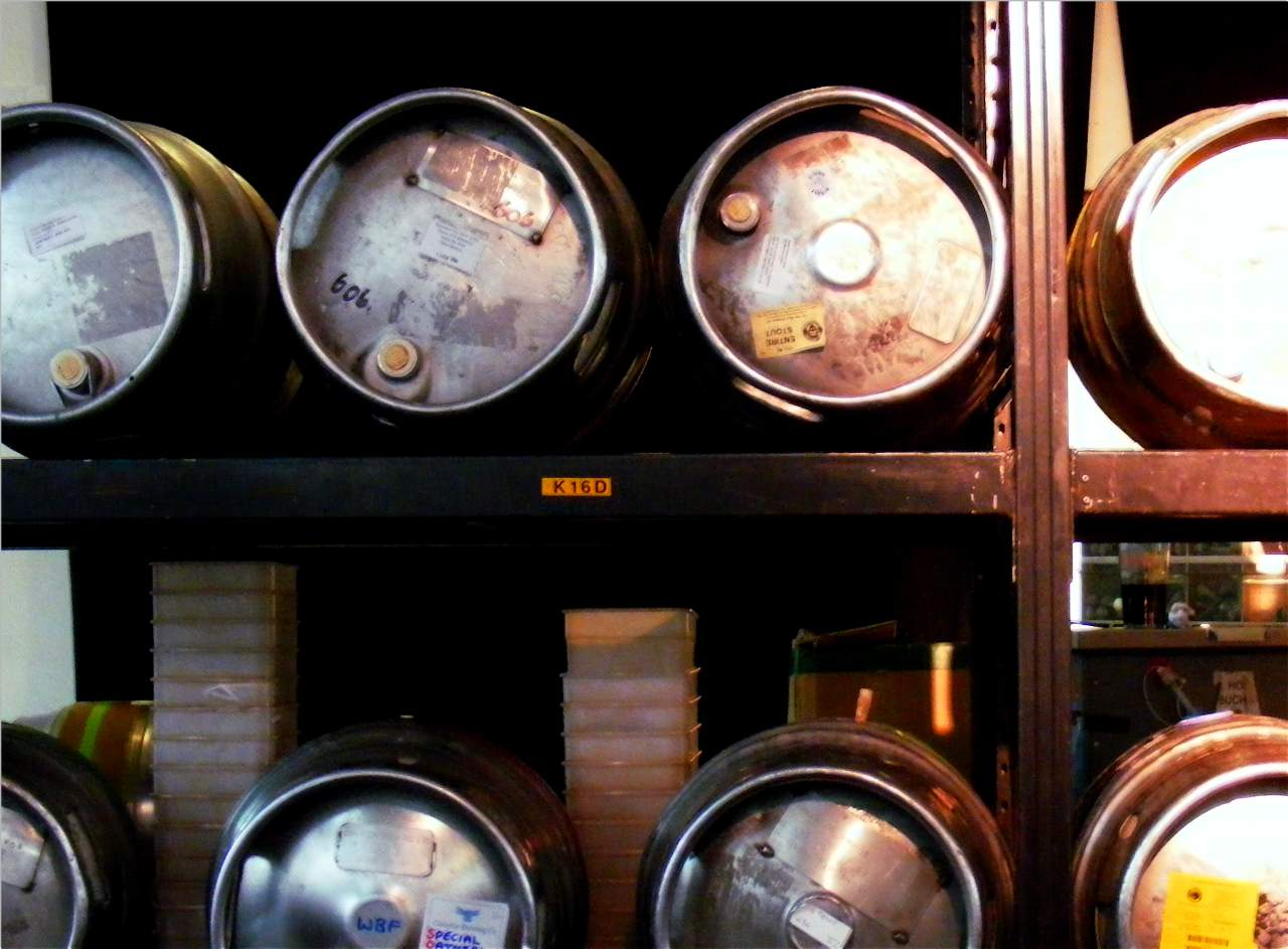 Casks at a beer festival.