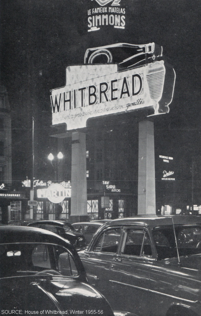A Whitbread advertising sign.