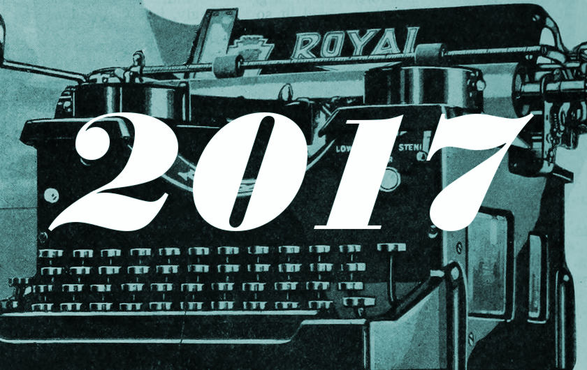 "Illustration: typewriter and ""2017"""