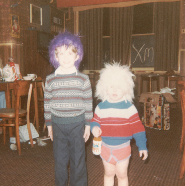 A 1980s photo of two boys in a pub.