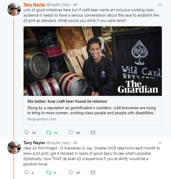 Lots of good initiatives here but if craft beer wants an inclusive working class audience it needs to have a serious conversation about the race to establish the £5 pint as standard. What would you drink if you were skint? Idea: £3 Pint Project. 12 breweries in, say, Greater MCR take turns each month to brew a £3 pint/ get it stocked in loads of good bars/ to see what's possible stylistically. Now THAT (& even £3 is expensive if you're skint), would be a positive move.