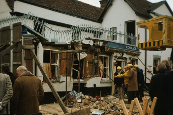 Bombed pub in Guildford, 1974.