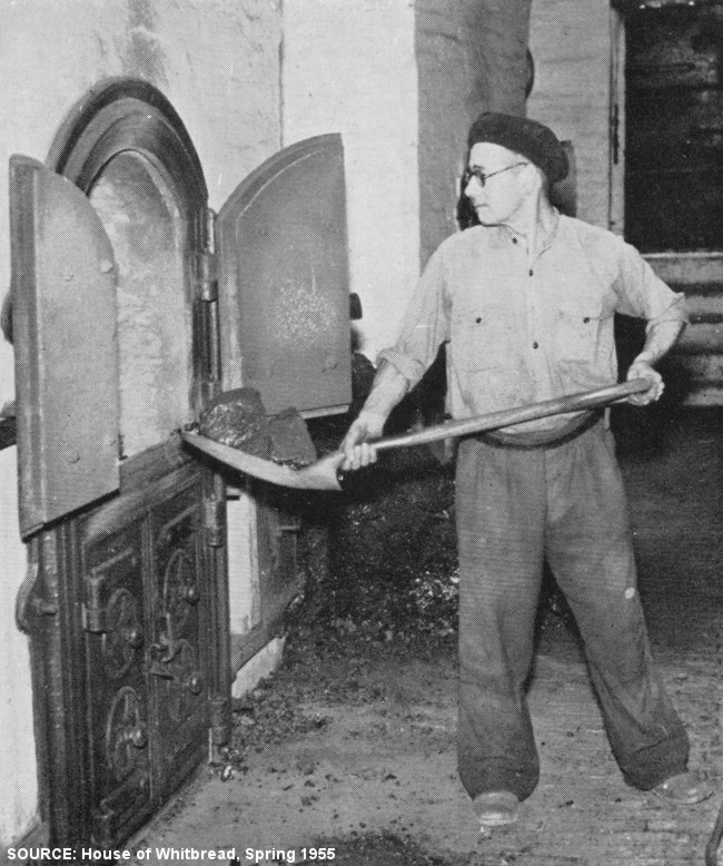 A man in a beret shovels coal.