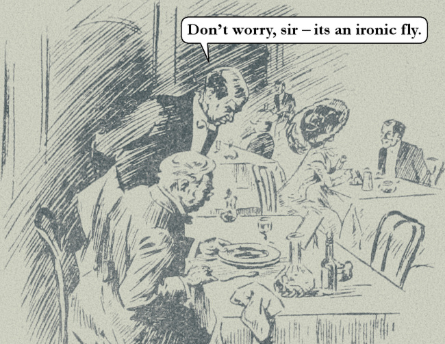 "Cartoon: waiter, to customer -- ""Don't worry, sir, it's an ironic fly."""