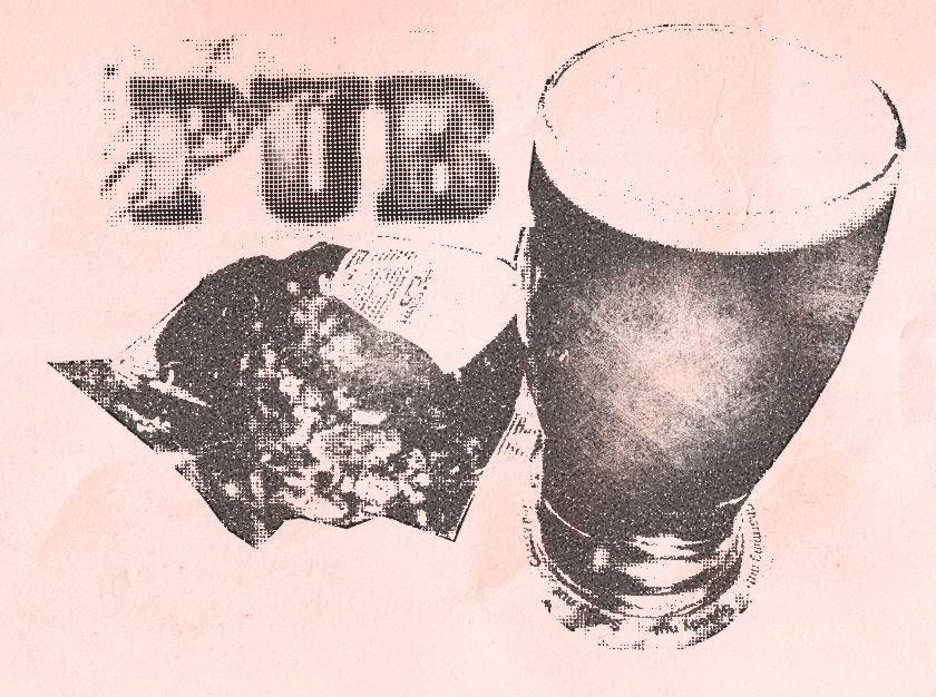 Illustration: fanzine style picture of a pint and a packet of crisps.