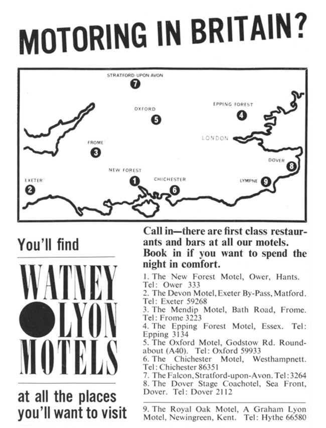 An advert for Watney Lyon motels showing nine locations in southern England.