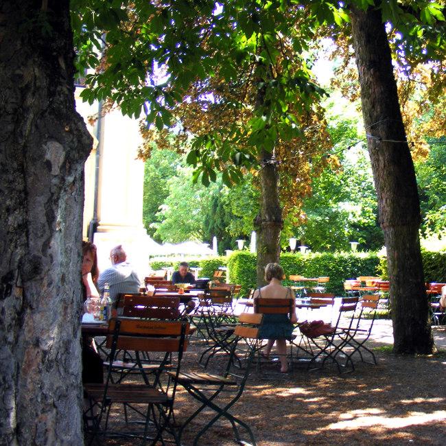 A sunny beer garden.