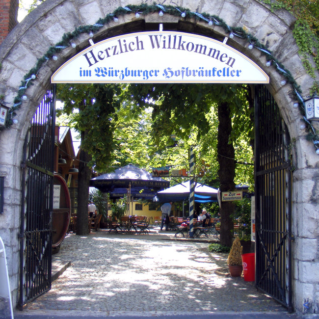 Entrance to a beer garden in Wurzburg.