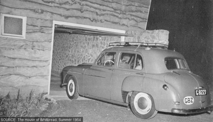 A 1950s car parks in a garage.