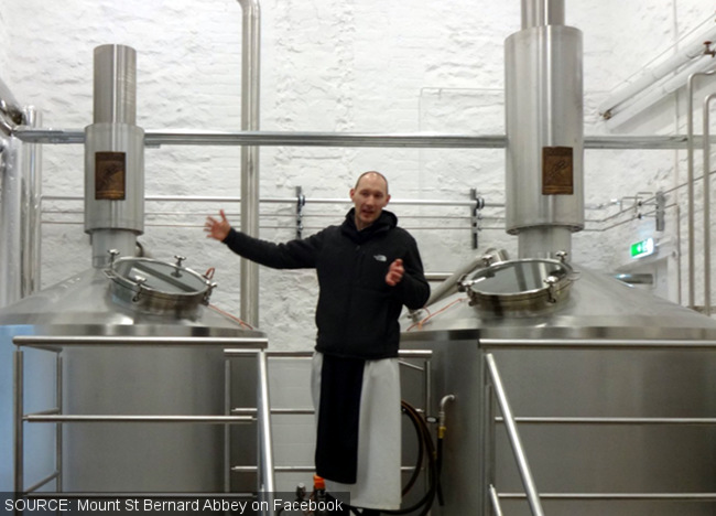 A monk in front of brewkit.