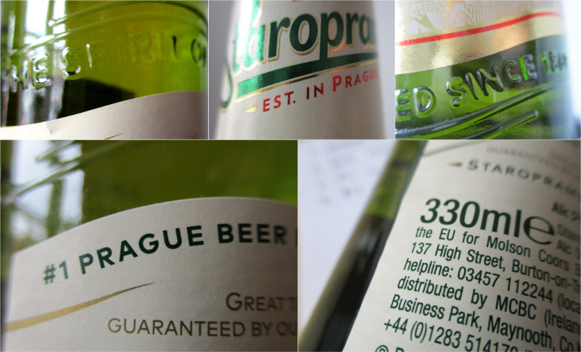Details of the Staropramen packaging.