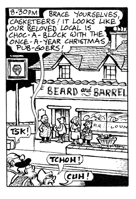 A panel from the strip about Christmas pubgoers.