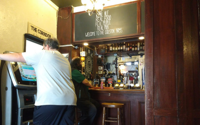 The back bar at the Colston Arms.