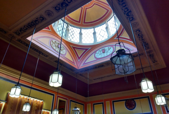 The ornate roof and skylight at the Commercial Rooms.