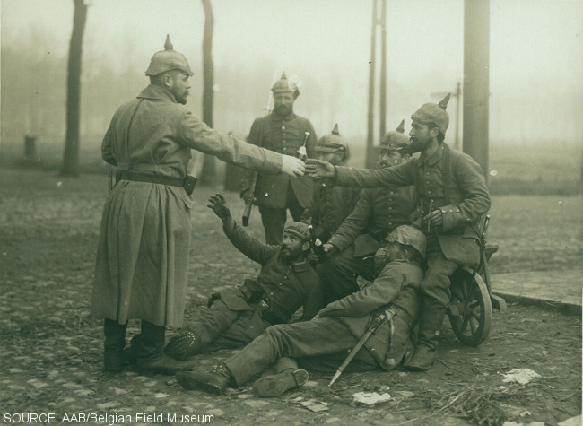 German troops sharing beer during World War I.