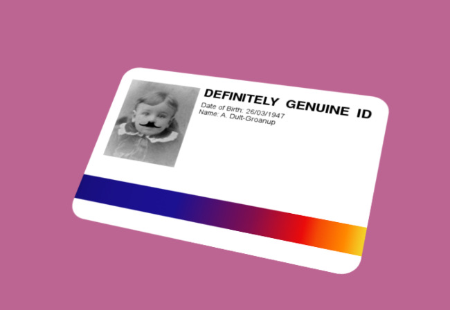 A fake ID card.