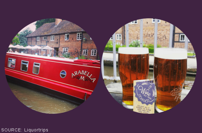 A canal boat and beers.