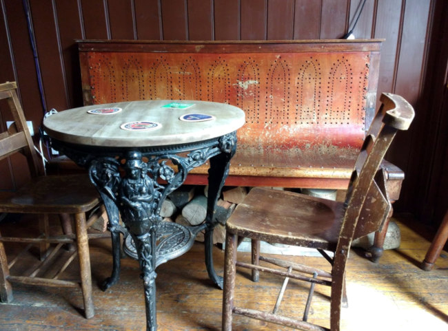 The Merchant's Arms -- chairs and tables.