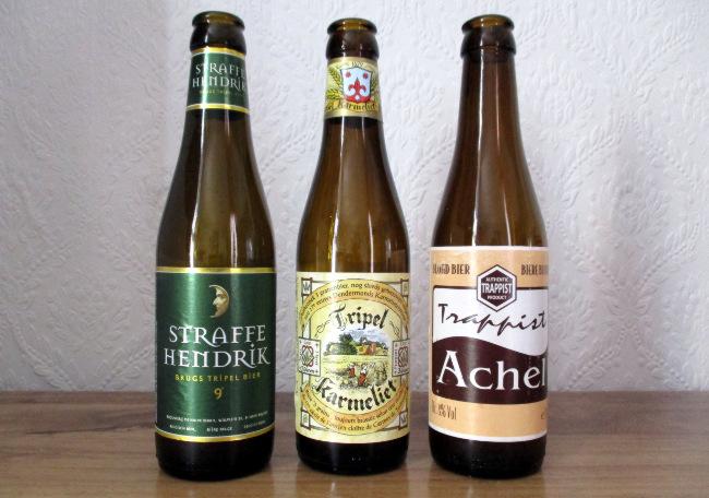 Three beer bottles.
