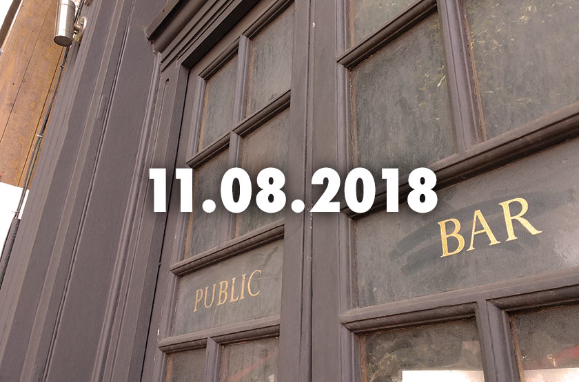 Public Bar: door of a pub with date overlaid.