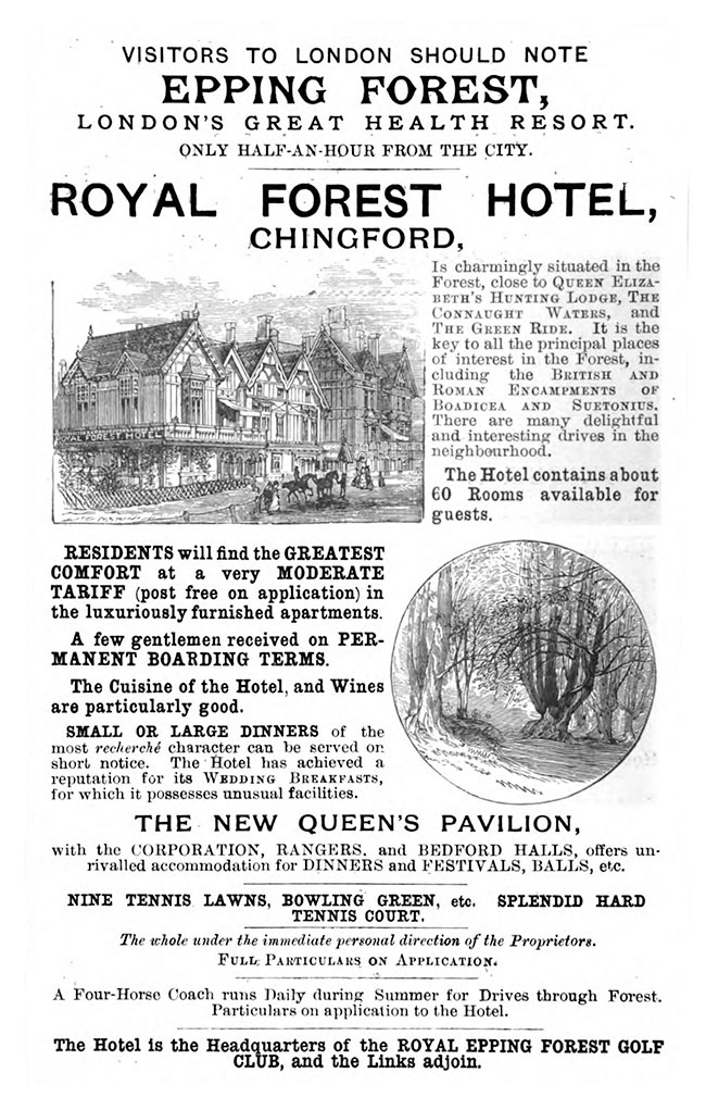 1890 advertisement for the Royal Forest.