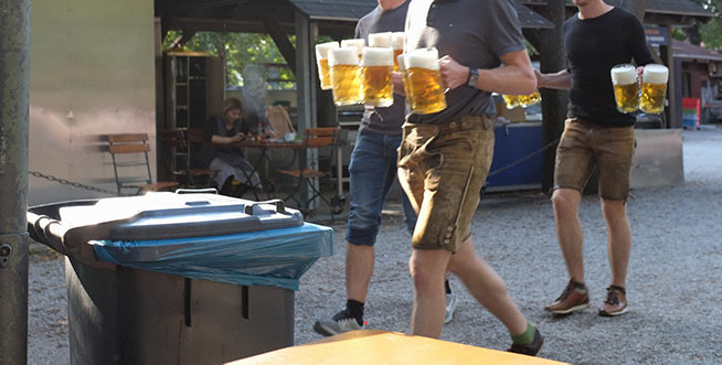 Lederhosen lads with litres of lager.