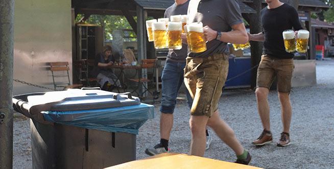 Lederhosen lads with litres of lager.