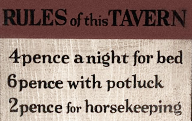 Rules of this Tavern.