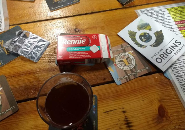 Rennies indigestion tablets and sour beer.