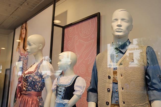 Trachten clothes in a shop window.