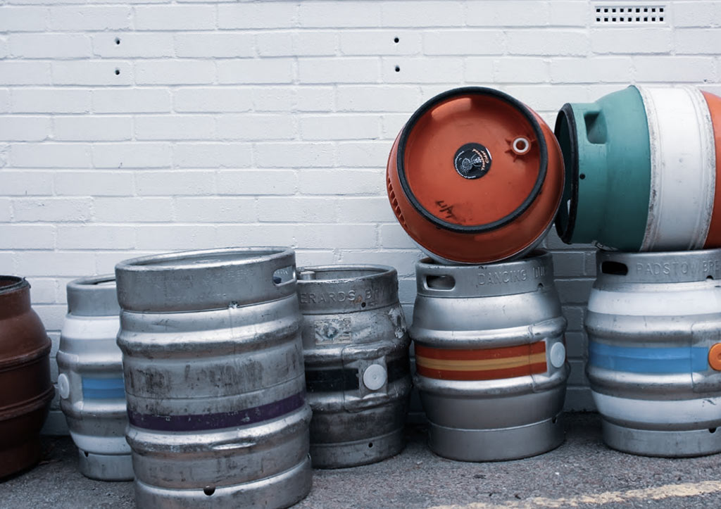 Casks in a pub yard.