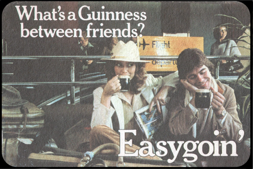 Easygoin' -- Guinness advertising beer mat from the 1970s.