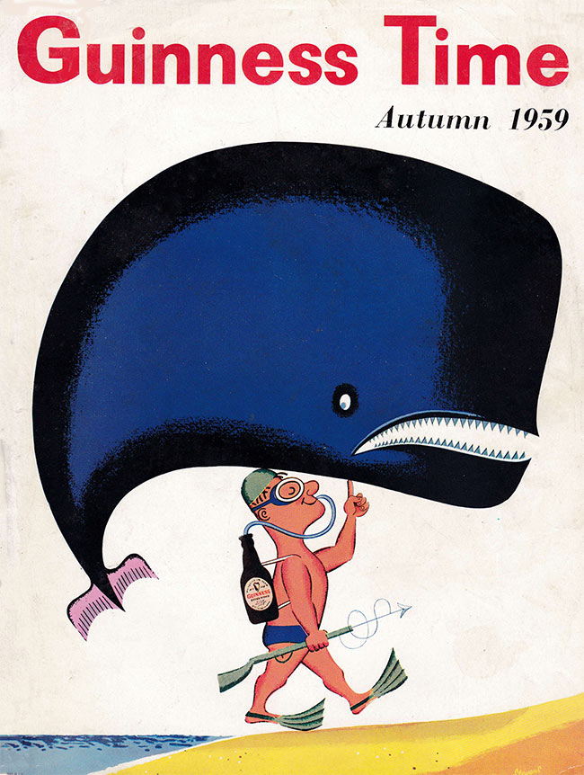 A man powered by a Guinness scuba tank carries a whale out of the sea on a fingertip.