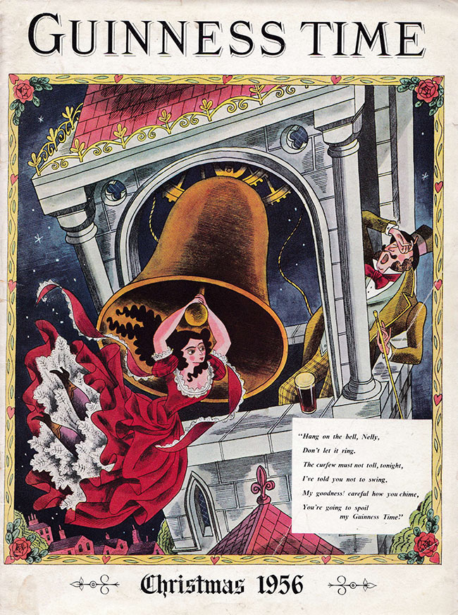 A woman swings on a bell while a man wails for his Guinness.
