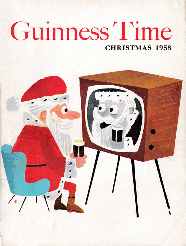 Santa drinks Guinness while watching TV.
