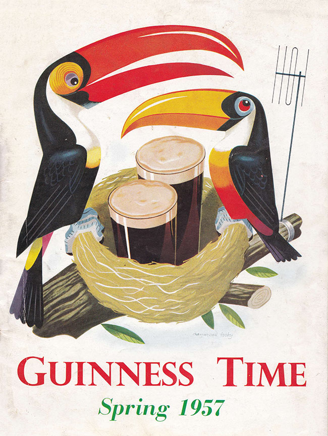 Two toucans nurture a pint of Guinness in a nest.