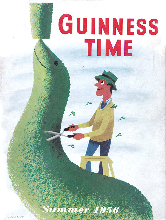 Guinness Time Summer 1956 -- a topiary seal.