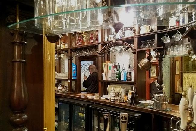 The bar at the Royal Oak pub.