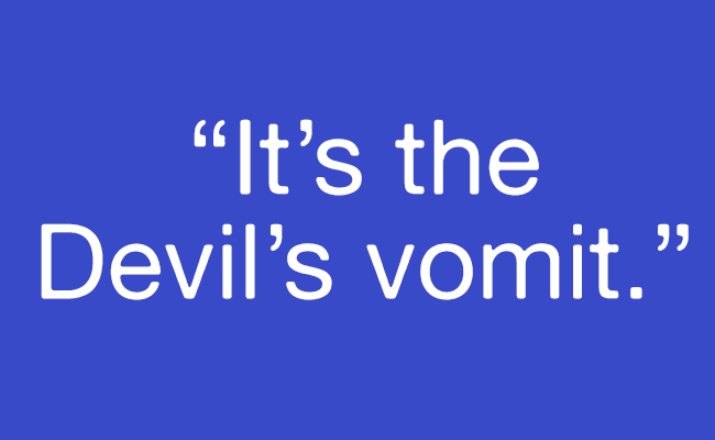 "Pull quote: ""It's the Devil's vomit."""